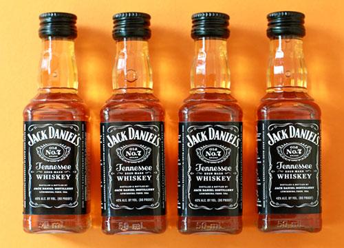 Bottles of Jack Daniels whiskey