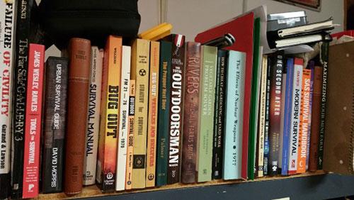 Shelf of survival books