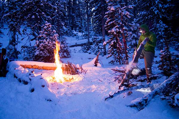 Fire in the winter wilderness